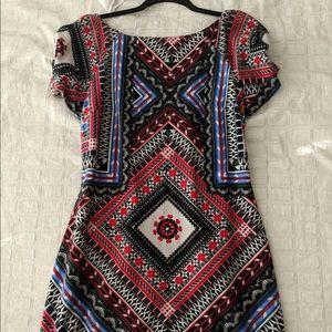 FARM velvet tile pattern dress
